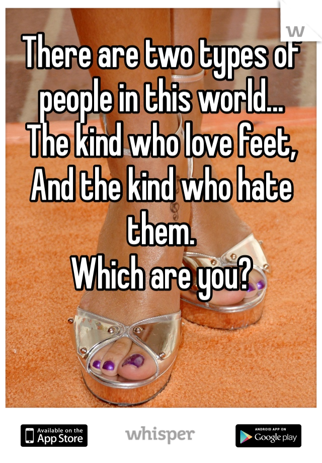 There are two types of people in this world... The kind who love feet,  And the kind who hate them. Which are you?