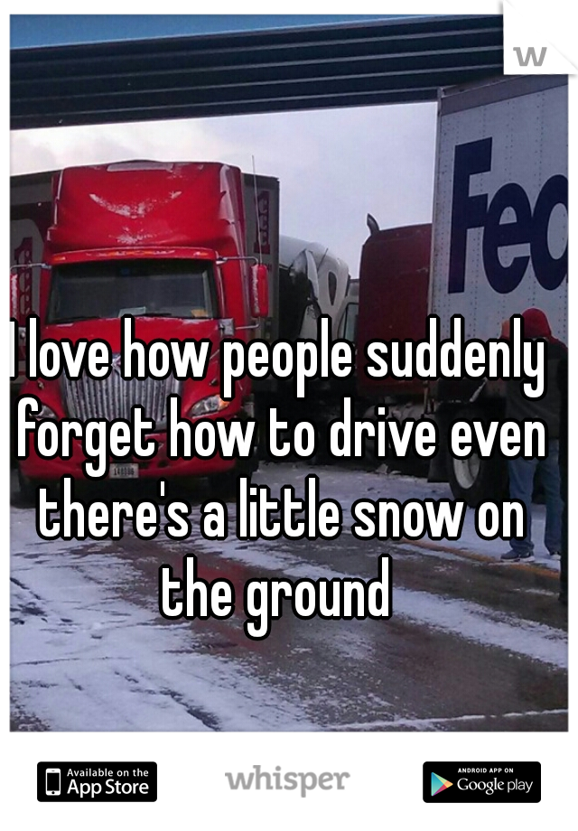 I love how people suddenly forget how to drive even there's a little snow on the ground
