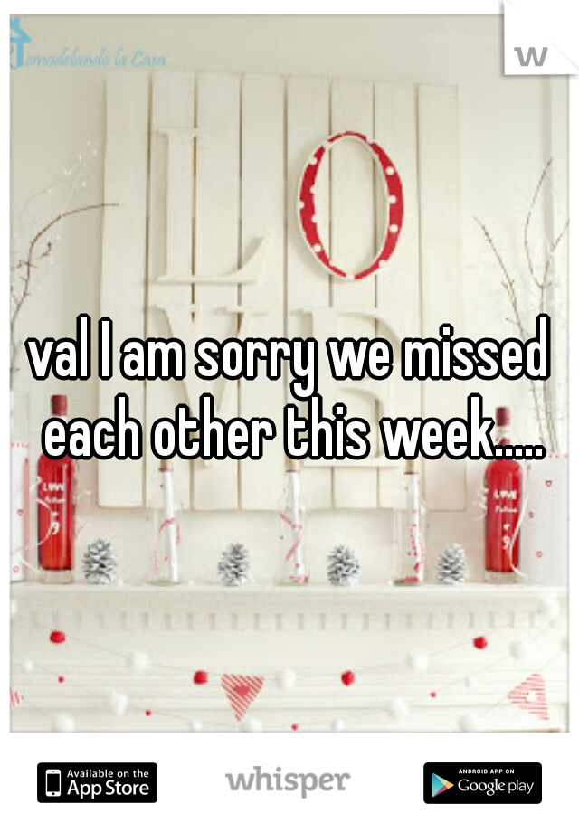 val I am sorry we missed each other this week.....