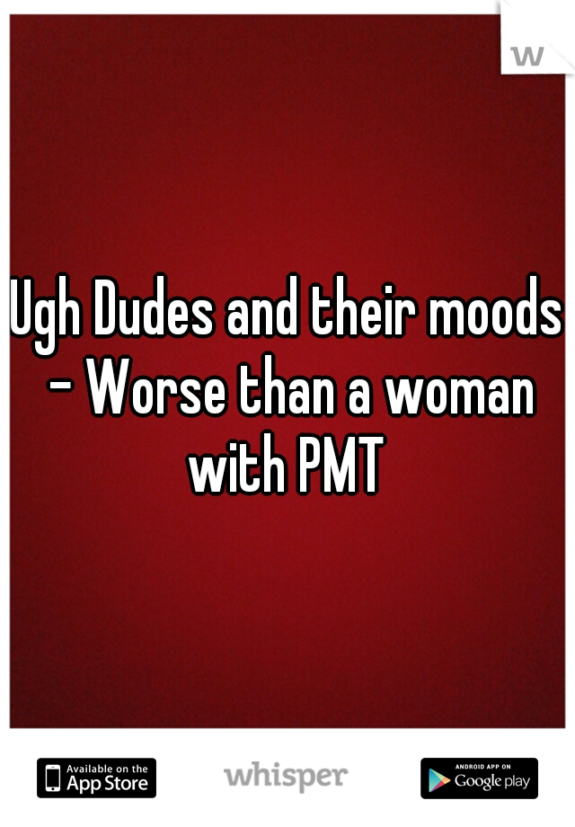 Ugh Dudes and their moods - Worse than a woman with PMT