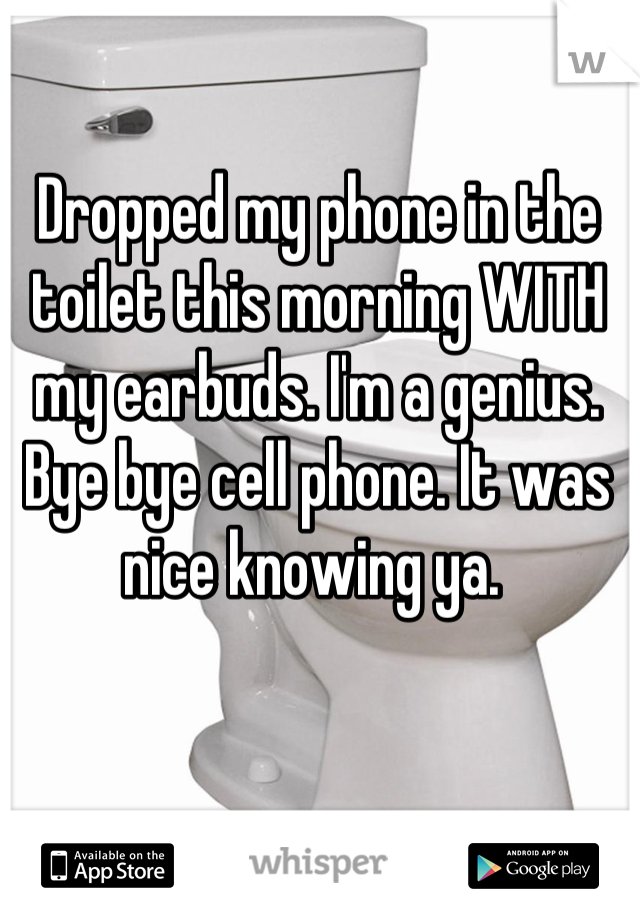 Dropped my phone in the toilet this morning WITH my earbuds. I'm a genius. Bye bye cell phone. It was nice knowing ya.