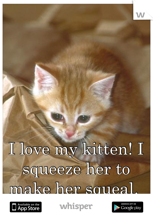 I love my kitten! I squeeze her to make her squeal.