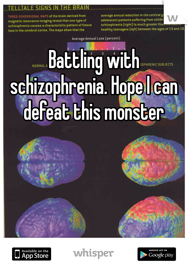 Battling with schizophrenia. Hope I can defeat this monster