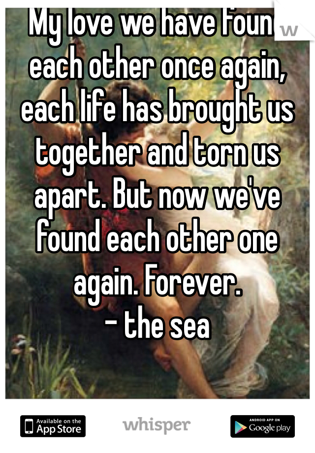 My love we have found each other once again, each life has brought us together and torn us apart. But now we've found each other one again. Forever.  - the sea