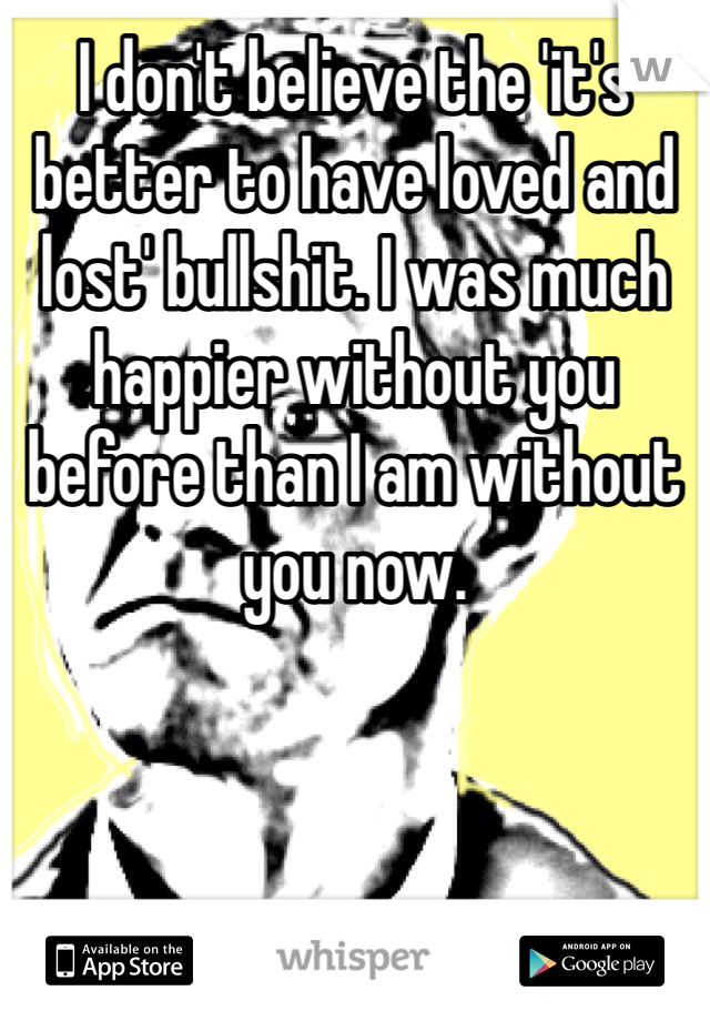 I don't believe the 'it's better to have loved and lost' bullshit. I was much happier without you before than I am without you now.