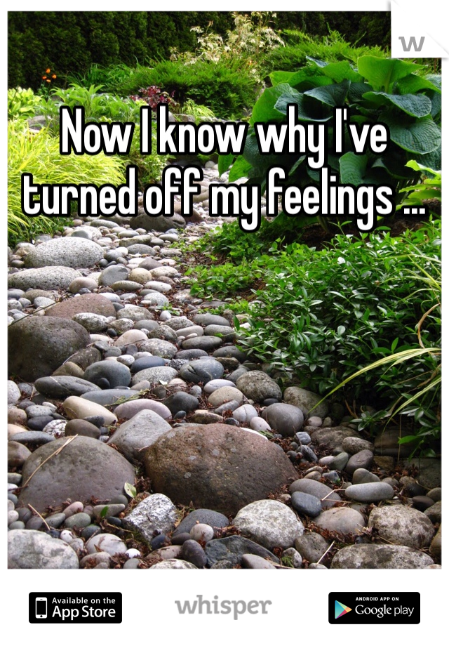 Now I know why I've turned off my feelings ...