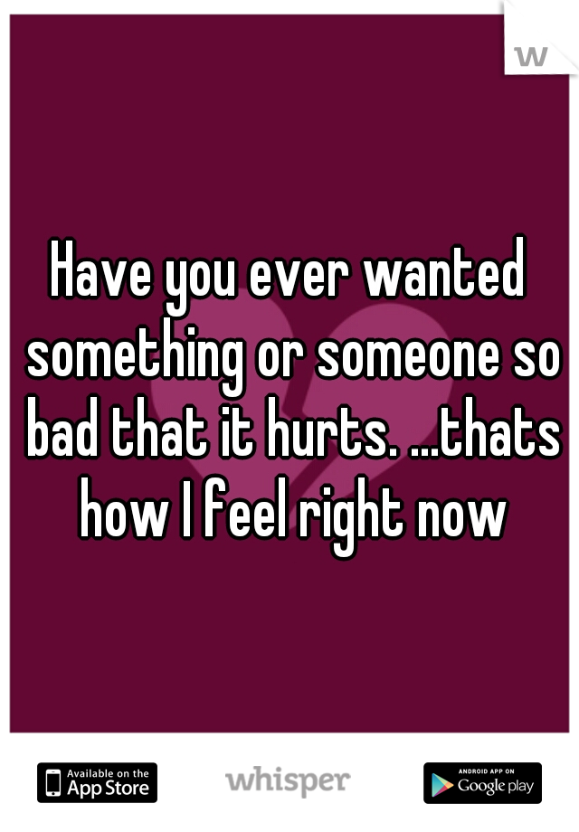 Have you ever wanted something or someone so bad that it hurts. ...thats how I feel right now