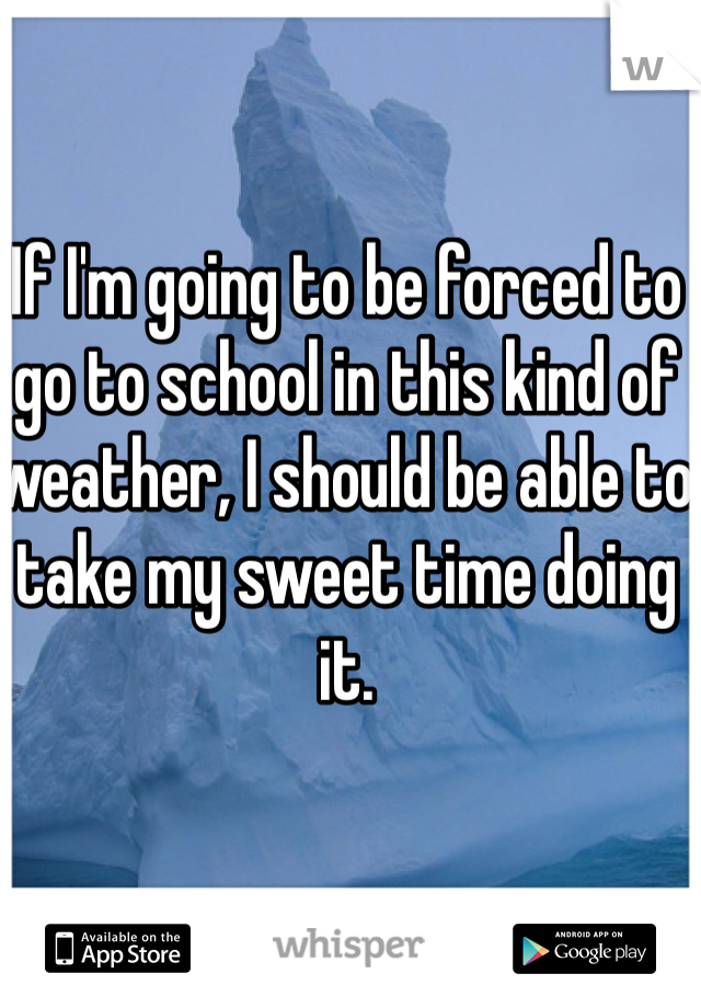 If I'm going to be forced to go to school in this kind of weather, I should be able to take my sweet time doing it.