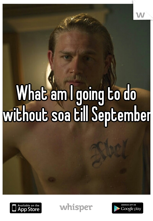 What am I going to do without soa till September.