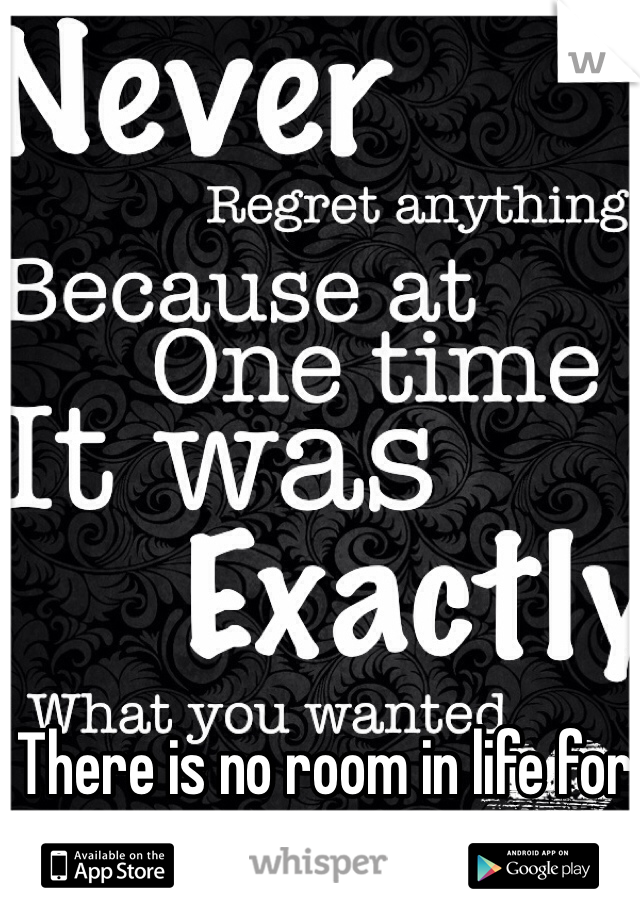 There is no room in life for regret