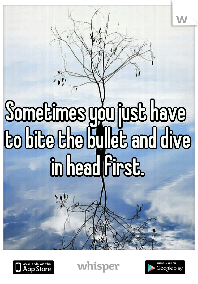 Sometimes you just have to bite the bullet and dive in head first.