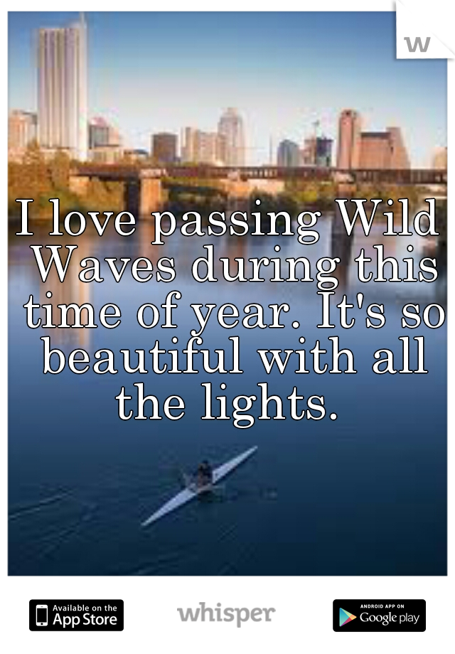 I love passing Wild Waves during this time of year. It's so beautiful with all the lights.