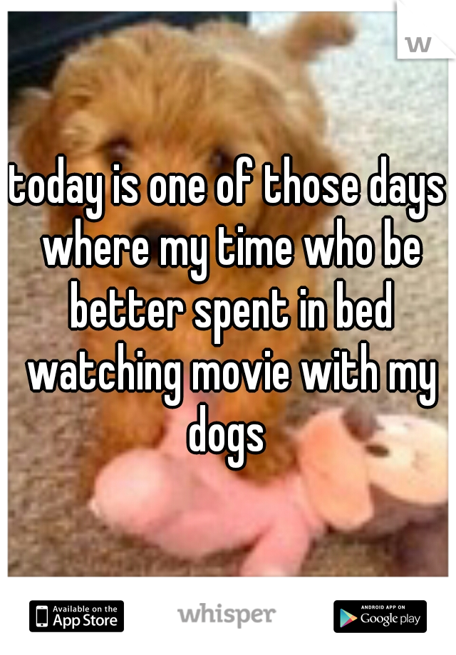 today is one of those days where my time who be better spent in bed watching movie with my dogs