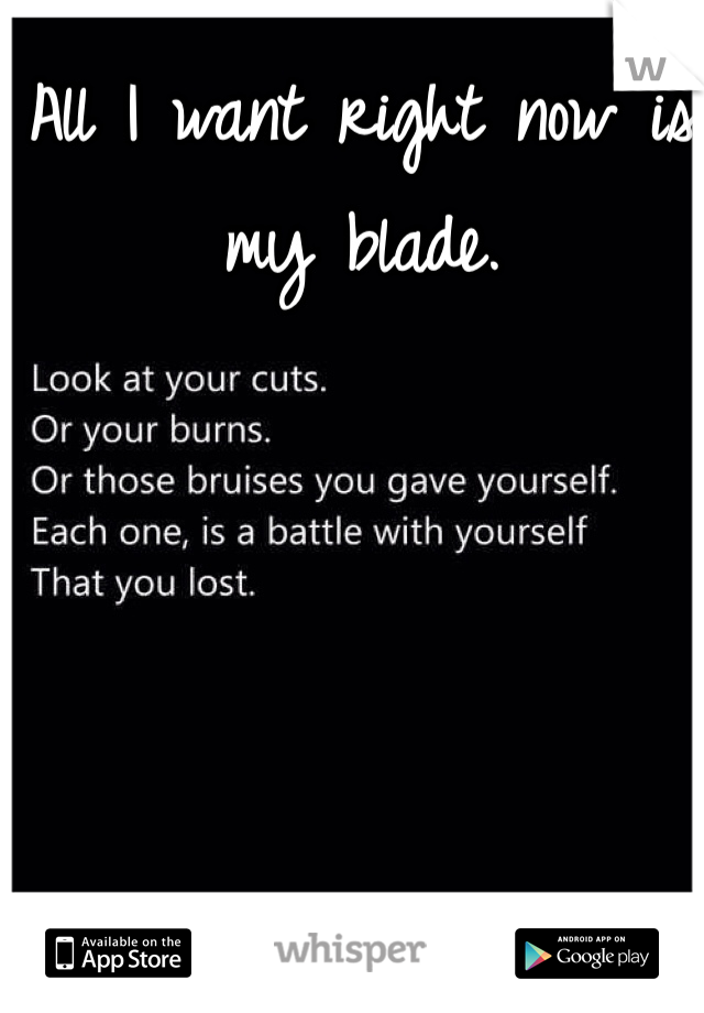 All I want right now is my blade.