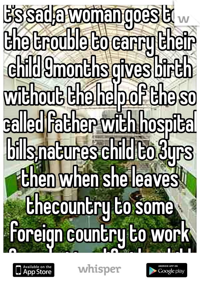 It's sad,a woman goes to all the trouble to carry their child 9months gives birth without the help of the so called father with hospital bills,natures child to 3yrs then when she leaves thecountry to some foreign country to work for a better life the child left with father,he decides no u(the mother)can't talk to my son!!!where's sanity&law?rescue team