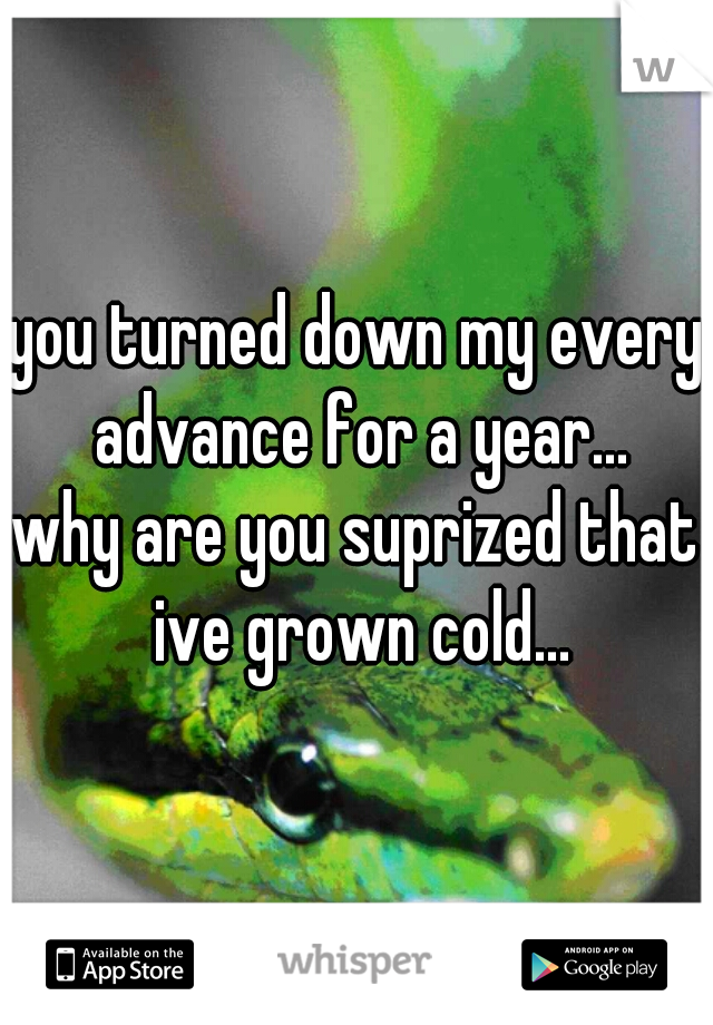 you turned down my every advance for a year... why are you suprized that ive grown cold...