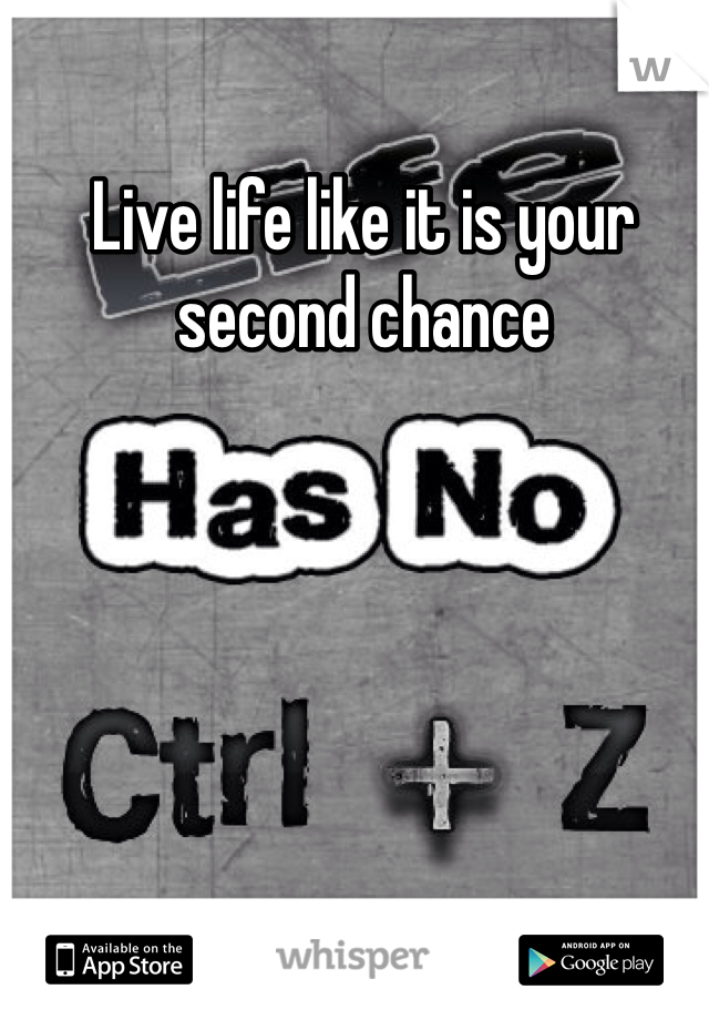Live life like it is your second chance
