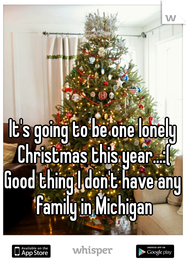 It's going to be one lonely Christmas this year...:(  Good thing I don't have any family in Michigan
