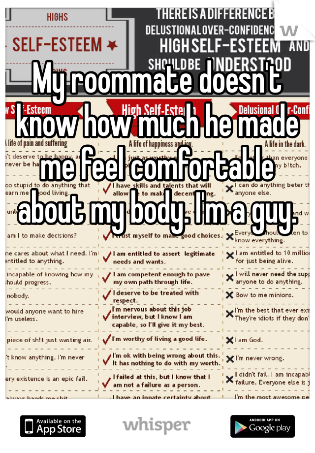 My roommate doesn't know how much he made me feel comfortable about my body. I'm a guy.