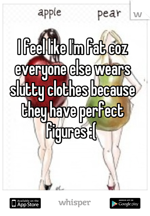 I feel like I'm fat coz everyone else wears slutty clothes because they have perfect figures :(