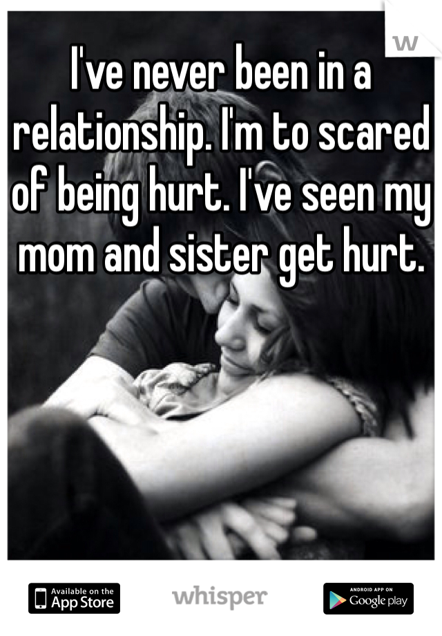 I've never been in a relationship. I'm to scared of being hurt. I've seen my mom and sister get hurt.