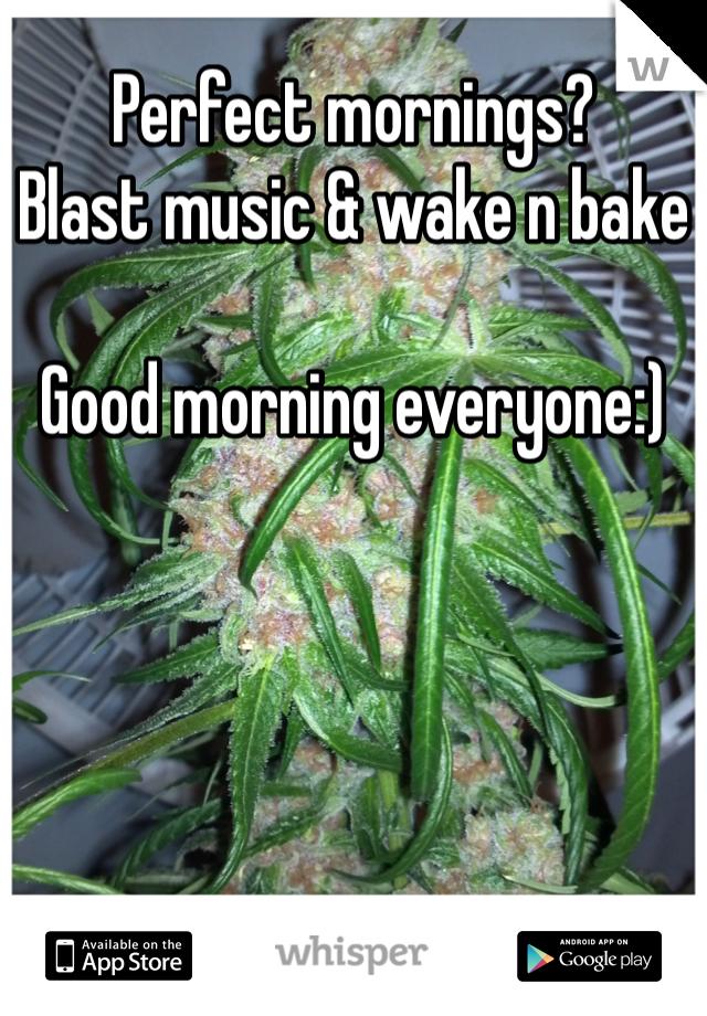 Perfect mornings? Blast music & wake n bake  Good morning everyone:)