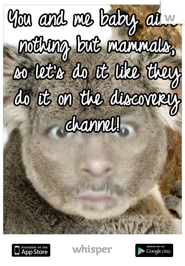 You and me baby ain't nothing but mammals, so let's do it like they do it on the discovery channel!