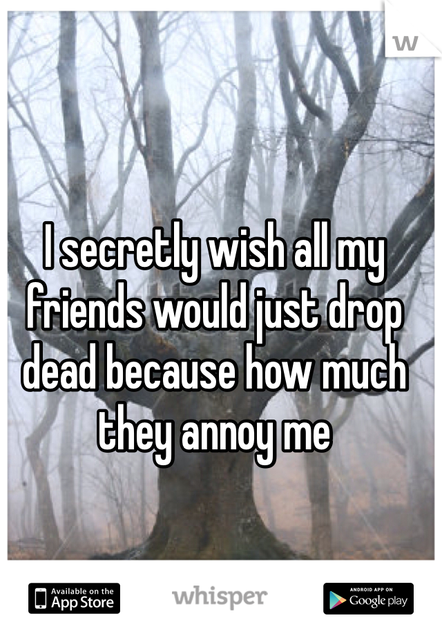 I secretly wish all my friends would just drop dead because how much they annoy me