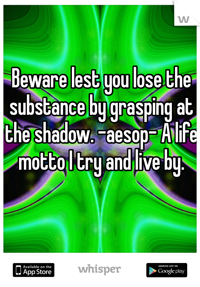 Beware lest you lose the substance by grasping at the shadow. -aesop- A life motto I try and live by.