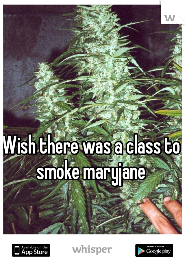 Wish there was a class to smoke maryjane