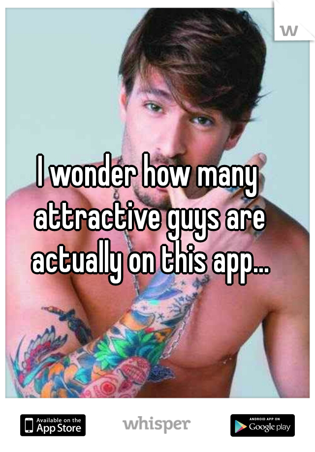 I wonder how many attractive guys are actually on this app...