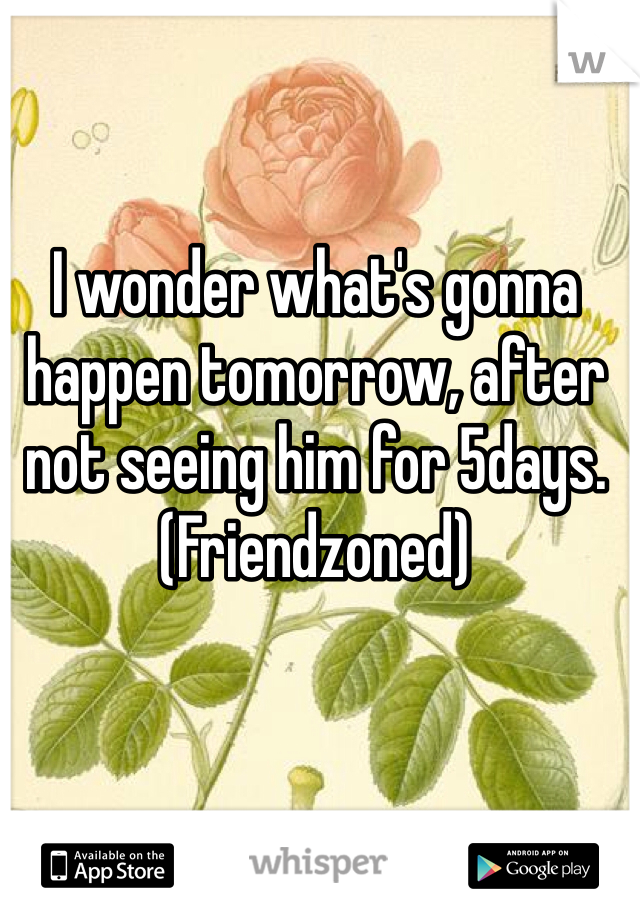 I wonder what's gonna happen tomorrow, after not seeing him for 5days. (Friendzoned)