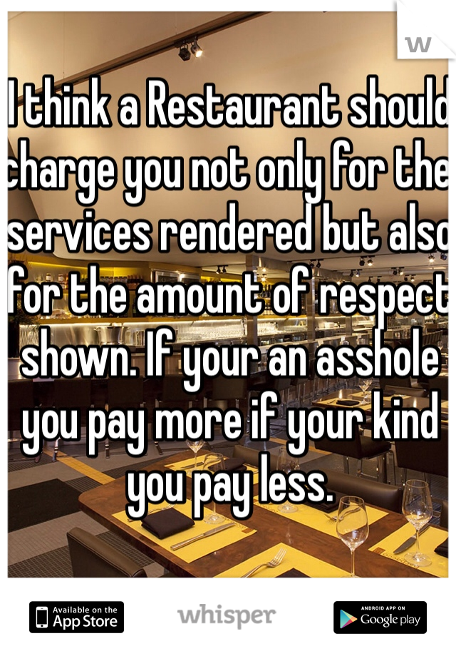 I think a Restaurant should charge you not only for the services rendered but also for the amount of respect shown. If your an asshole you pay more if your kind you pay less.