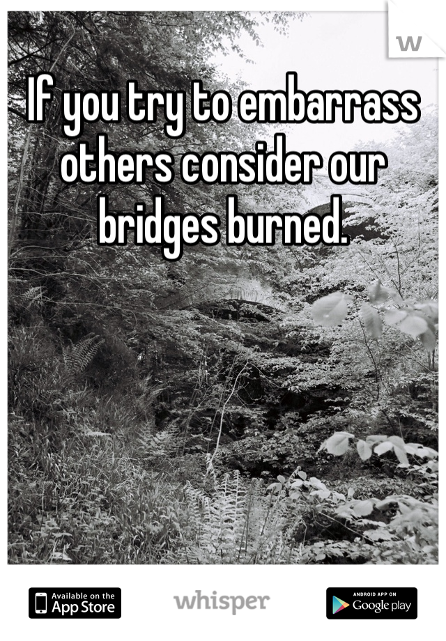 If you try to embarrass others consider our bridges burned.