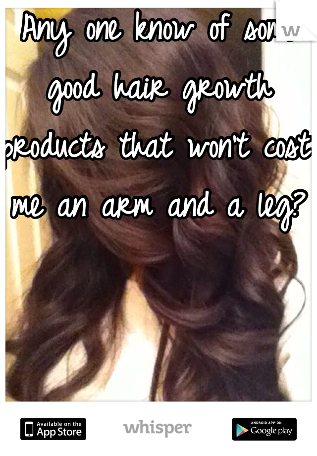 Any one know of some good hair growth products that won't cost me an arm and a leg?