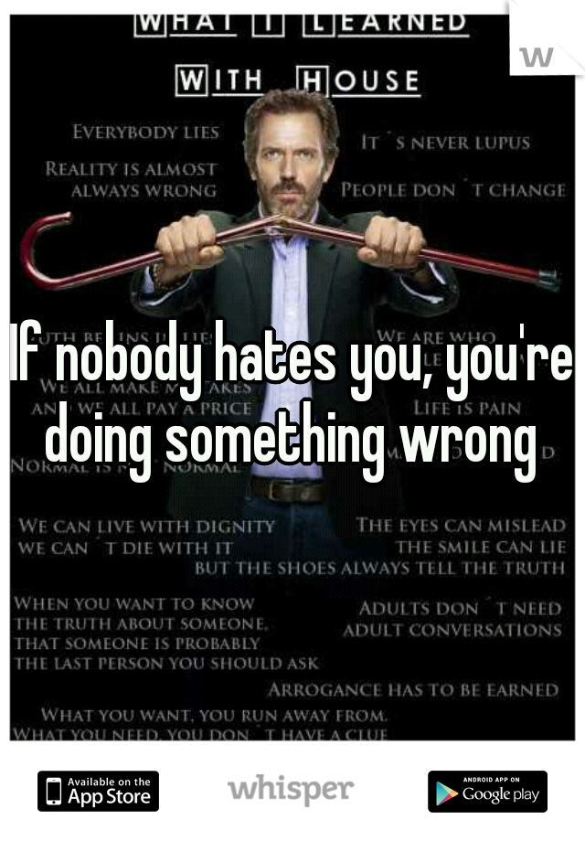 If nobody hates you, you're doing something wrong