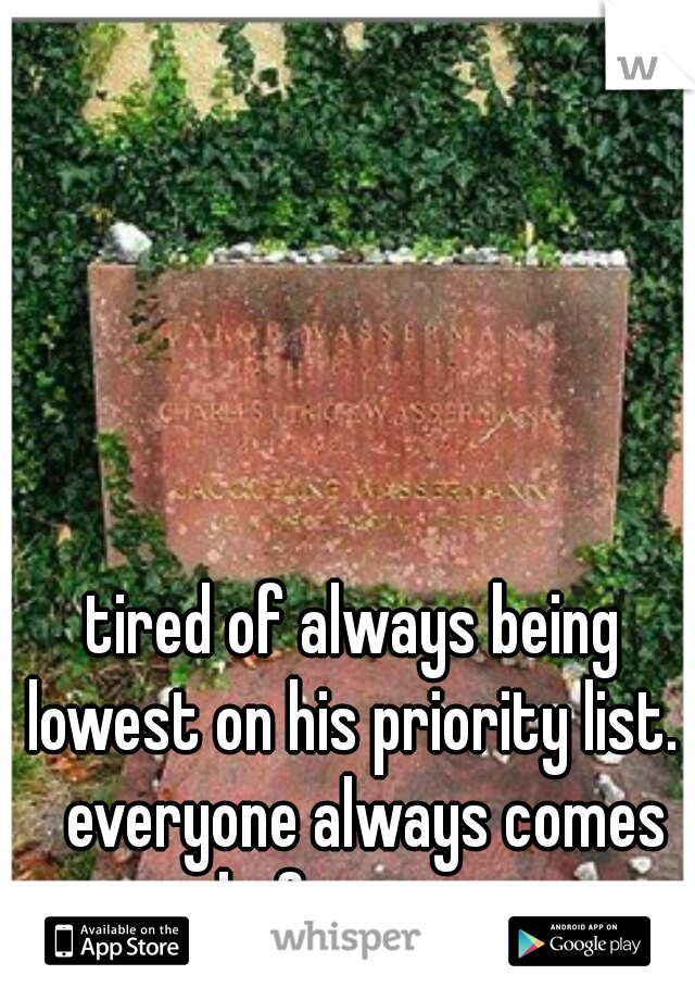 tired of always being lowest on his priority list.   everyone always comes before me.