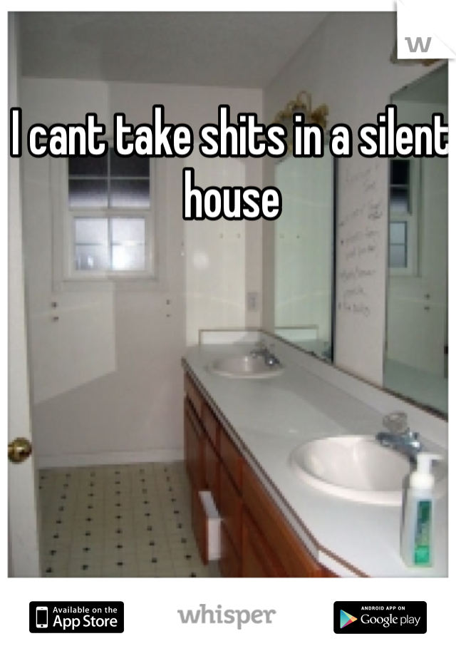 I cant take shits in a silent house
