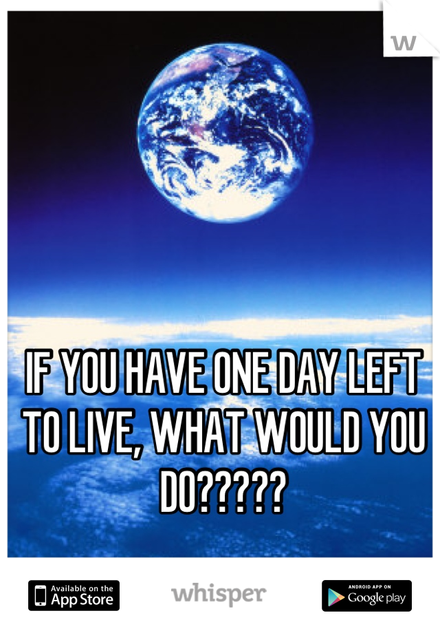 IF YOU HAVE ONE DAY LEFT TO LIVE, WHAT WOULD YOU DO?????