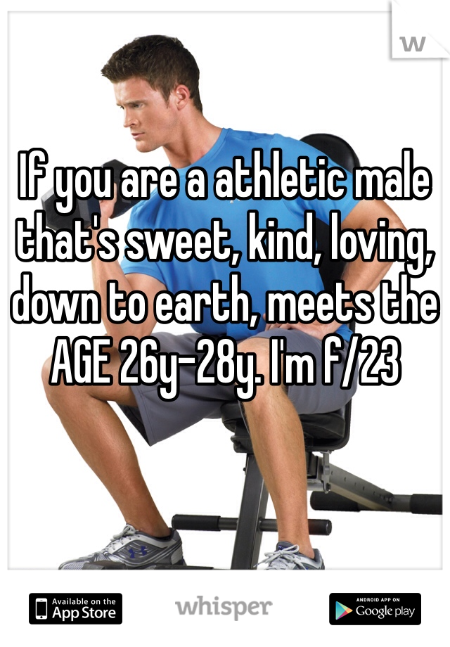 If you are a athletic male that's sweet, kind, loving, down to earth, meets the AGE 26y-28y. I'm f/23