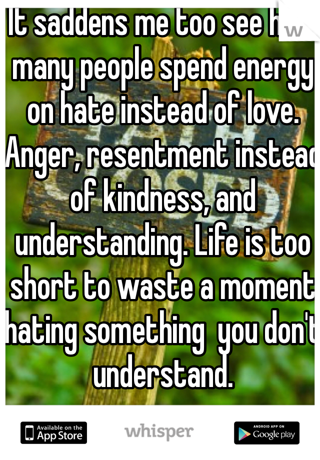 It saddens me too see how many people spend energy on hate instead of love. Anger, resentment instead of kindness, and understanding. Life is too short to waste a moment hating something  you don't understand.