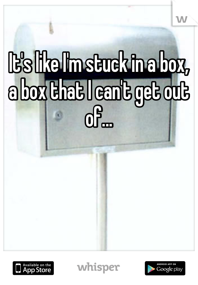 It's like I'm stuck in a box, a box that I can't get out of...
