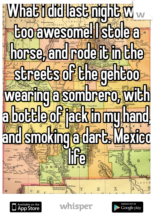 What i did last night was too awesome! I stole a horse, and rode it in the streets of the gehtoo wearing a sombrero, with a bottle of jack in my hand, and smoking a dart. Mexico life