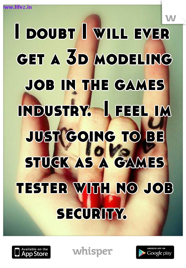 I doubt I will ever get a 3d modeling job in the games industry.  I feel im just going to be stuck as a games tester with no job security.