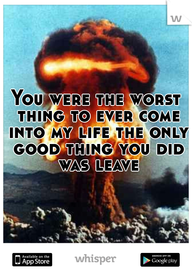 You were the worst thing to ever come into my life the only good thing you did was leave