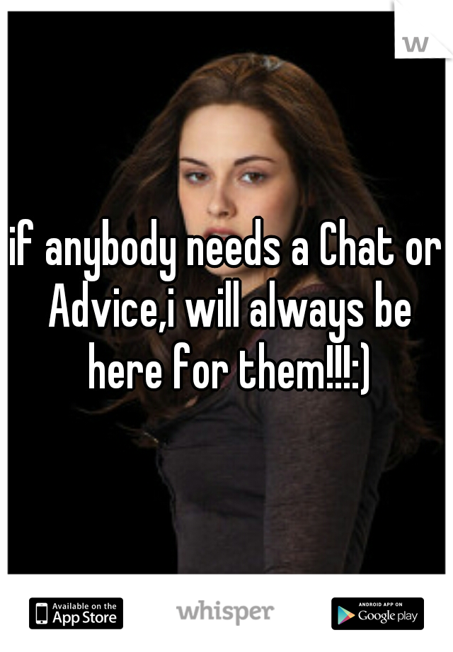 if anybody needs a Chat or Advice,i will always be here for them!!!:)