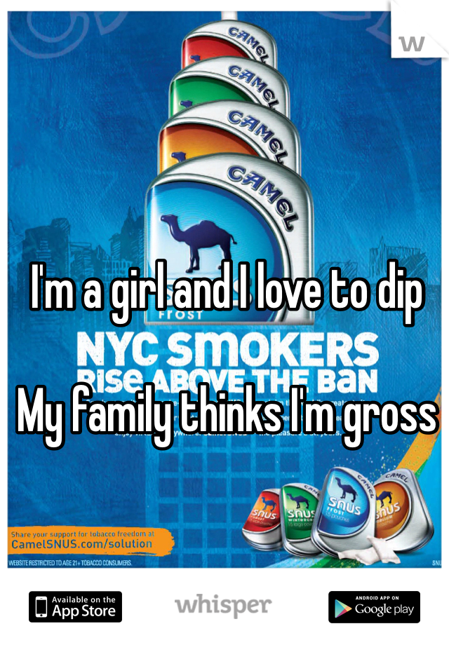 I'm a girl and I love to dip   My family thinks I'm gross