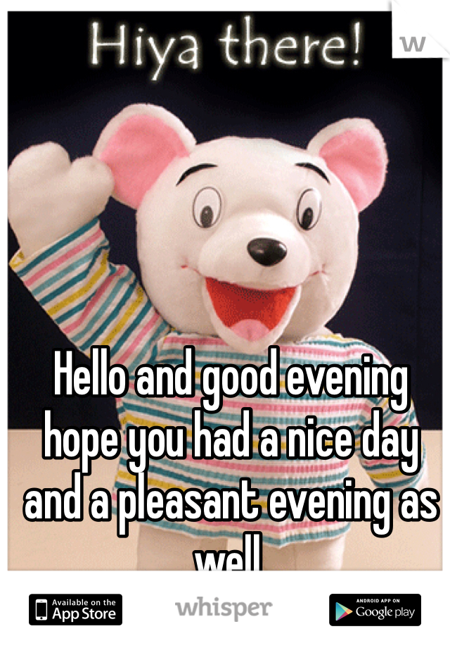 Hello and good evening hope you had a nice day and a pleasant evening as well.
