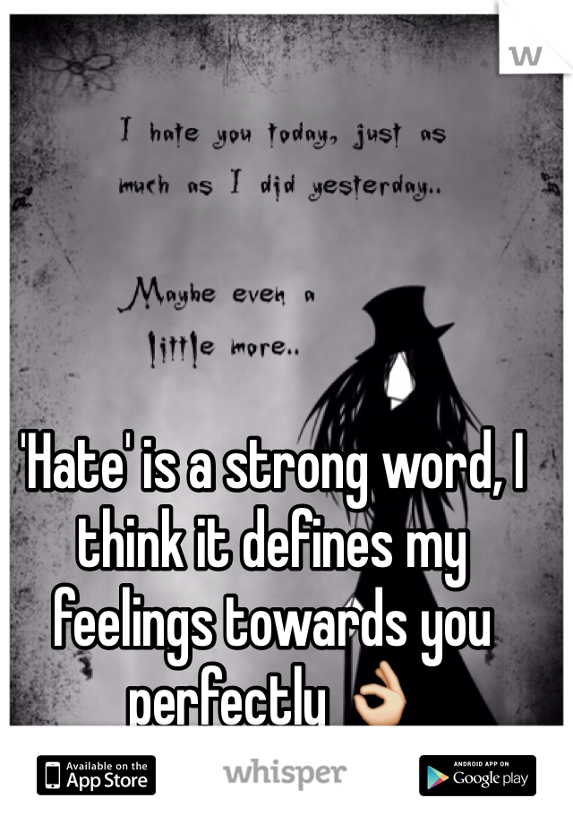 'Hate' is a strong word, I think it defines my feelings towards you perfectly 👌