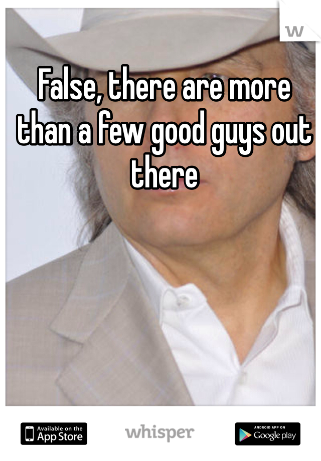 False, there are more than a few good guys out there